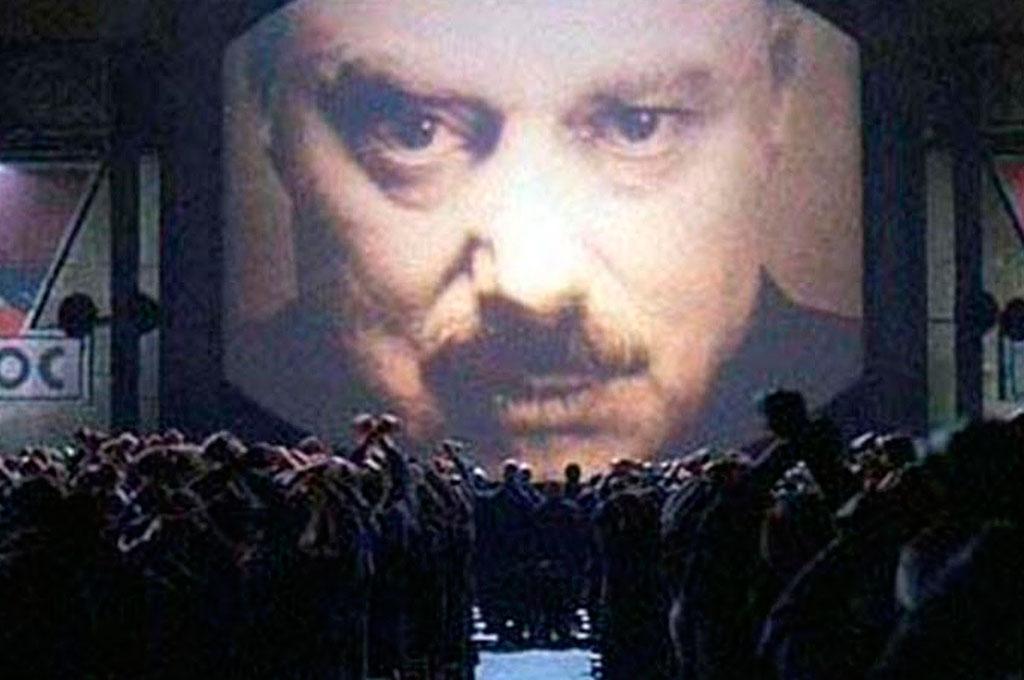 Big Brother no filme 1984, inspirado no livro de George Orwell