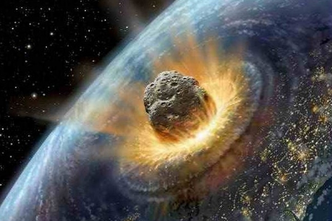 Montagem com um meteoro atingindo a Terra