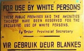 Placa da época do Apartheid