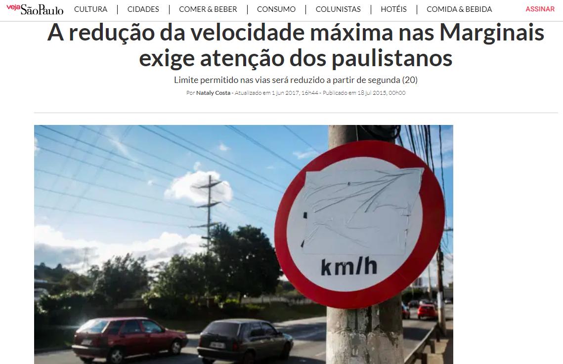 Veja São Paulo repercute mudança de velocidade máxima em vias da capital paulista em 2015