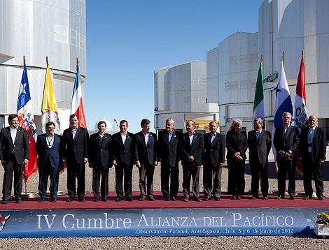 A Aliança do Pacífico foi criada em 2012. Envolve Chile, Peru, México e Colômbia, além de várias nações que são apenas observadoras, de diversos continentes. Os quatro países da Aliança do Pacífico representam 36% do PIB da América Latina. (Foto: Wikimedia Commons)