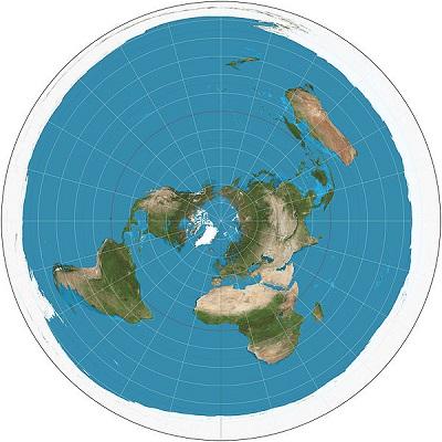 A vantagem de uma projeção azimutal é que todos os pontos estão representados no mapa a uma distância proporcionalmente correta do ponto central. (Foto: Wikimedia Commons)