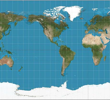 Nessa projeção, as deformações vão ficando maiores quanto maior a latitude. Essa é uma das projeções mais usadas nos mapas-mundi. (Foto: Wikimedia Commons)