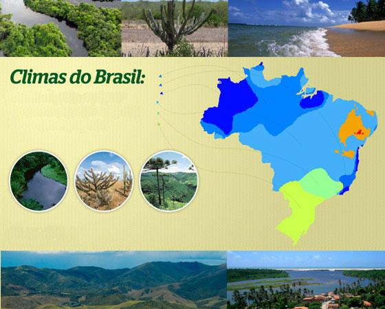 Como mais de 90% do território brasileiro fica entre os trópicos de Câncer e de Capricórnio, podemos dizer que vivemos, sim, num país tropical. Os tipos de clima no país são definidos com base em critérios variados, mas sobretudo, a partir da quatidade de chuva e da temperatura média no decorrer do ano. Confira a seguir as principais características dos seis principais tipos climáticos do Brasil
