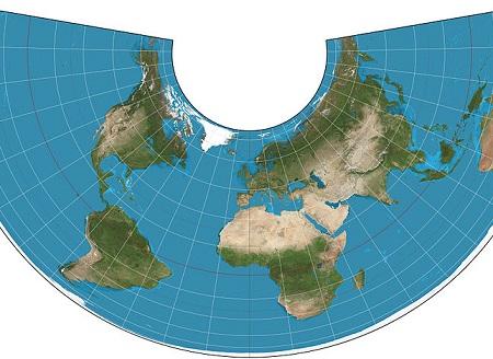Na projeção cônica, os meridianos são mostrados como linhas retas que seguem em direção aos pólos. (Foto: Wikimedia Commons)