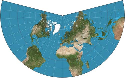 A projeção cônica é muito utilizada para a representação de áreas continentais. O nome desse método é porque o mapa é como se fosse um cone desenrolado. (Foto: Wikimedia Commons)