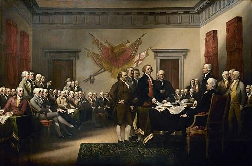 Após um ano de conflito, o Reino Unido declarou os rebeldes traidores. A resposta dos americanos foi a Declaração de Independência dos Estados Unidos, promulgada em 4 de julho. (Foto: Wikimedia Commons)