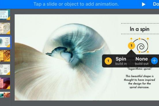 Disponível para iOS, o Keynote permite criar apresentações, compartilhá-las e acessá-las a partir de um smatphone ou tablet. O app faz parte de um conjunto de ferramentas que a Apple desenvolveu para o iWork. (Imagem: Reprodução)