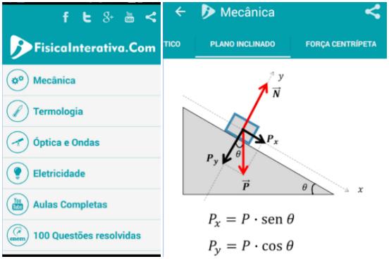Além de trazer resumos e aulas de física completas, o aplicativo Física Interativa possui um banco de 100 questões do Enem resolvidas em vídeo. Também é possível navegar pelas fórmulas offline. O app está disponível apenas para Android. (Imagem: Reprodução)