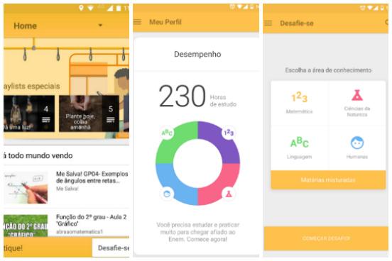 Resultado de uma parceria entre a Fundação Lemann e o canal Youtube EDU, o EDU.app é um aplicativo com foco específico para o Enem. Através dele, você pode ter acesso a videoaulas - organizadas conforme as quatro áreas de conhecimento do exame -, exercícios, dicas de prova e playlists especiais para ouvir durante os estudos. O app é gratuito e está disponível apenas para Android. (Imagem: Reprodução)
