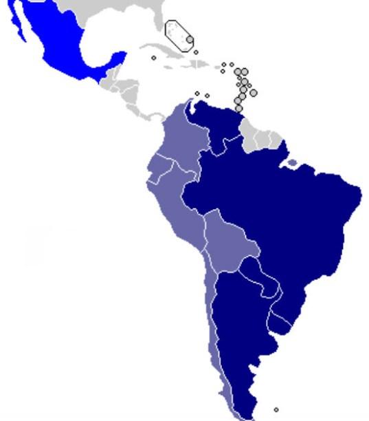 O Mercosul é formado atualmente por cinco membros plenos ou Estados partes, que são: Argentina, Brasil, Paraguai, Uruguai e Venezuela. A Bolívia é um Estado parte em processo de adesão, já que a inclusão do país nessa categoria vem sendo debatida desde 2011. Chile, Peru, Colômbia, Equador, Guiana e Suriname são Estados Associados ao bloco. Nova Zelândia e México são países observadores. (Imagem: Wikimedia Commons)