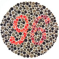 """Quem tem a visão normal vê o número 96. <a href=""""http://guiadoestudante.abril.com.br/vestibular/noticias/descobrir-daltonismo-pode-melhorar-vida-escolar-545415.shtml"""" target=""""_blank"""">Leia mais sobre daltonismo</a>."""