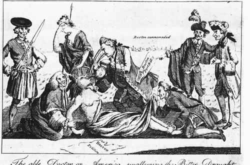 Além disso, o Parlamento Britânico também aprovou uma série de leis desvantajosas para a colônia - o fechamento do porto de Boston e a proibição de manifestações contra a metrópole foram algumas delas. A caricatura representa essas leis intoleráveis. (Foto: Wikimedia Commons)