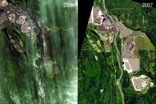A grande demanda por petróleo tem seu preço. No Canadá, áreas próximas ao rio Athabasca foram invadidas por empresas em busca do ouro negro. O resultado foi dramático: 256 km de floresta foram devastados. (Imagem: NASA)