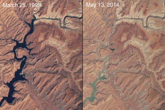 Durante o século 20, os americanos domaram o rio Colorado, construindo represas e reservatórios. Em 2000, uma grande seca atingiu o Arizona e o inimaginável aconteceu: alguns lagos tiveram sua capacidade hídrica drasticamente reduzida. Na imagem, você pode ver a seca do lago Powel. (Imagem: NASA)