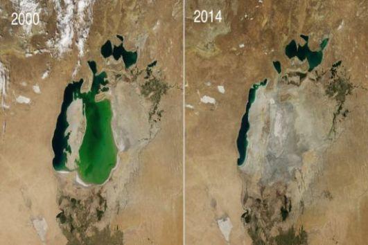 O Mar de Aral, localizado entre o Cazaquistão e Ubezquistão, já foi o quarto maior lago do mundo. Hoje, depois de ser drenado para irrigação de plantações, perdeu sua capacidade hídrica. (Imagem: NASA)