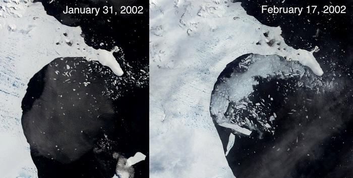 O derretimento de grandes camadas de gelo da Groenlândia e da Antártida tem preocupado cientistas. Em 2002, a plataforma Larsen B, na Antártida se desintegrou. O desaparecimento massivo destas placas altera o nível global do mar e pode acabar com cidades a beira mar. (Imagem: NASA)