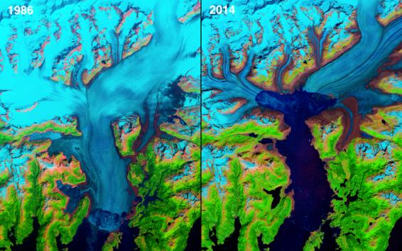 A geleira de Columbia, localizada no Alasca, recuou 12 km² devido ao aquecimento globo. Até 1980, o tamanho da placa descoberta em 1794 se mantinha instável
