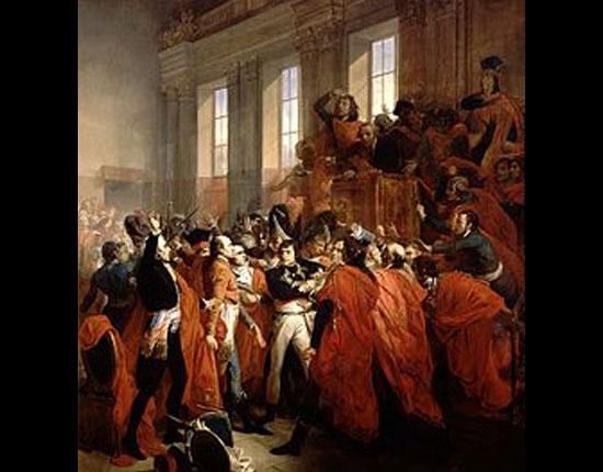 Foi nessa época que o General Napoleão Bonaparte começou sua escalada ao poder. Famoso no país por conta das vitórias militares, ele foi enviado pela Convenção Nacional para uma campanha militar no Egito. Só que o ato da Convenção, motivado por medo da popularidade de Napoleão, deu errado. Ele voltou ao país e deu um golpe de estado, conhecido como 18 de Brumário.