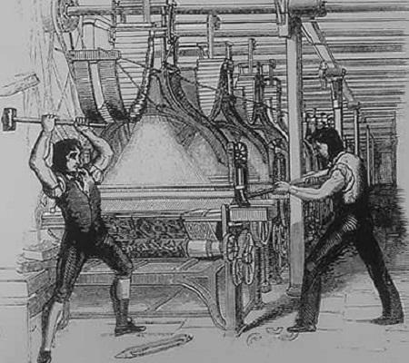Em 1811, o operário Ned Ludd liderou manifestações. Os funcionários invadiam as fábricas e quebravam o maquinário, que estava substituindo a mão de obra humana. (Foto: Wikimedia Commons)