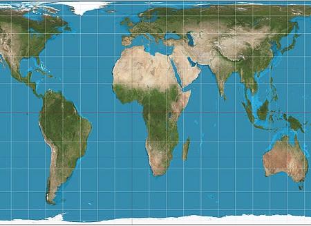 Já na projeção cilíndrica, a Terra é representada como se um cilindro envolvesse o planeta. Paralelos e meridianos são linhas retas e perpendiculares entre si. (Foto: Wikimedia Commons)