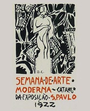 Também conhecida como semana de 22, a Semana de Arte Moderna é um marco na história brasileira. Nela, pintura, escultura, poesia, literatura e música brasileiras entraram de vez no modernismo, rompendo com os padrões anteriores. A imagem mostra a capa do catálogo do evento.