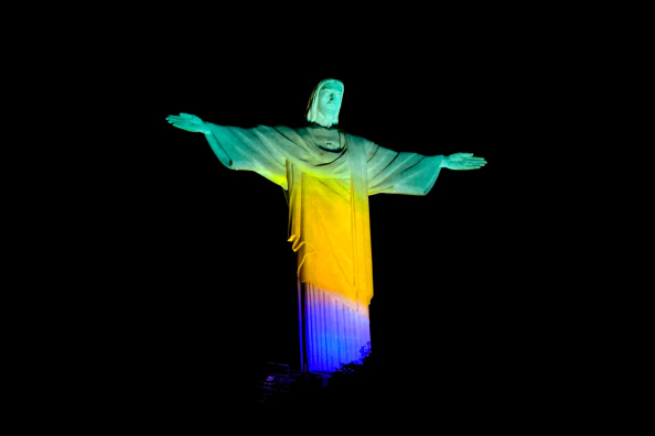 Christ The Redeemer Lit Green Yellow and Blue Two Years Ahead Of Rio 2016 Olympics Opening Ceremony