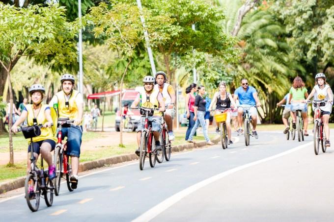 People riding bikes in Ibirapuera Park in Sao Paulo, Brazil