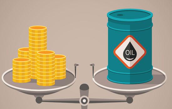 Balança com moedas de um lado e petróleo do outro