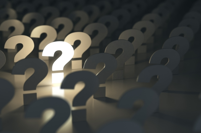 Question marks. Idea or problem concept.