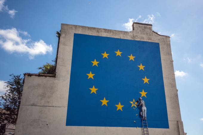 Banksy Brexit Mural Appears On A Building Close To Dover Ferry Port