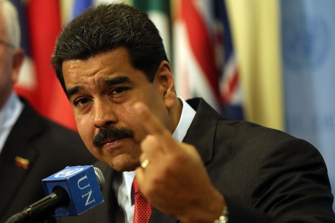 Presidente da Venezuela, Nicolás Maduro em uma reunião com o secretário das Nações Unidas, o General Ban Ki Moon