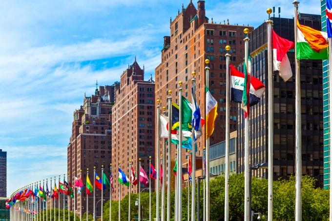 diplomata-Bandeiras dos membros das Nações Unidas em Nova York