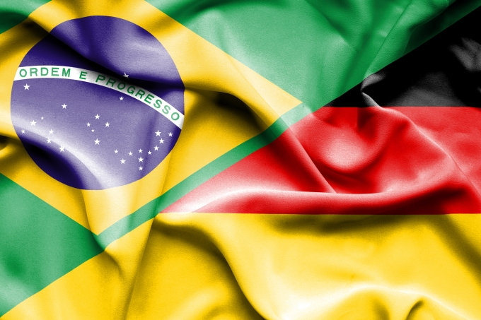 Waving flag of Germany and Brazil