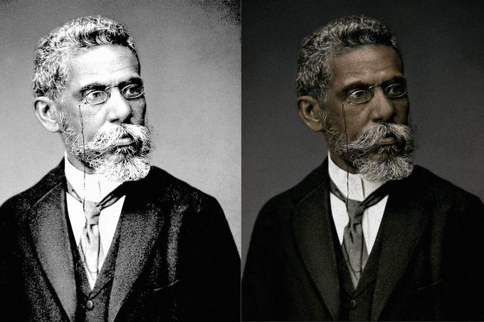 Machado de Assis era negro! Faculdade Zumbi dos Palmares coloriu foto do autor