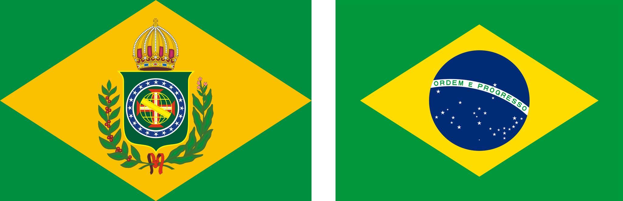 Bandeira do Brasil Império do lado da atual bandeira brasileira