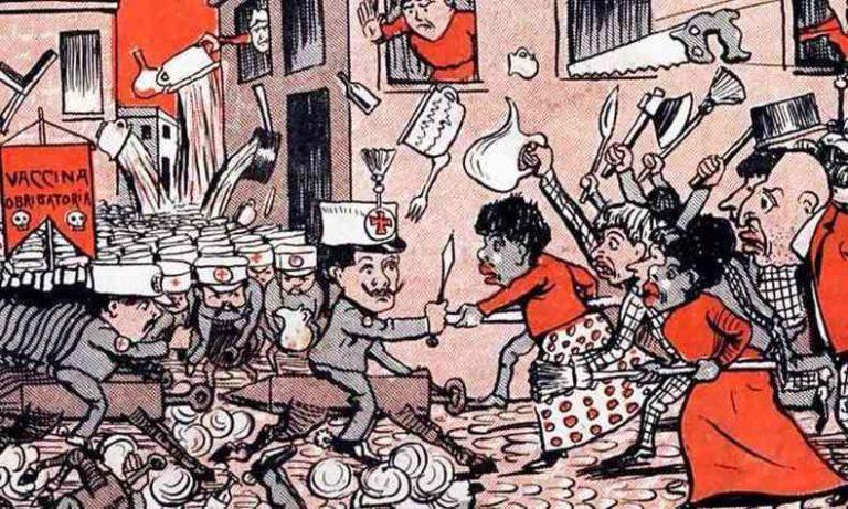 """Charge da revista """"O Malho"""", em 1904, parecia prever a revolta que se instalaria no Rio de Janeiro após a """"vacinação compulsória"""" instituída por Oswaldo Cruz contra a varíola"""