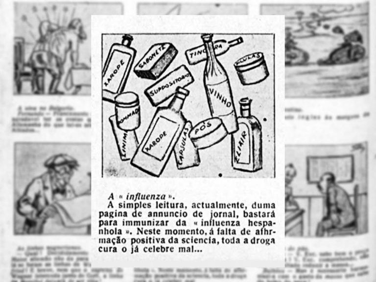 Na época da gripe espanhola, os jornais estavam repletos de anúncios de remédios milagrosos que se diziam capazes de prevenir e curar a doença. Na Charge da revista Fon Fon, eles criticam essa oferta de remédios falaciosos
