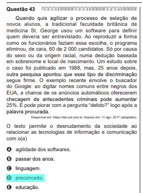 Questão de Português Alterada Enem 2020
