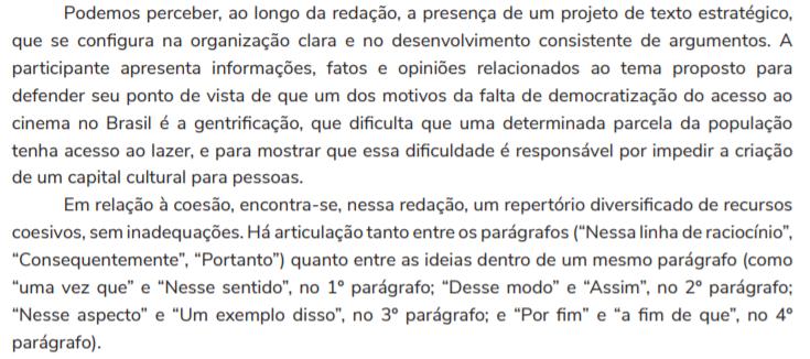 Comentário sobre a redação nota mil da candidata Maria Barra.