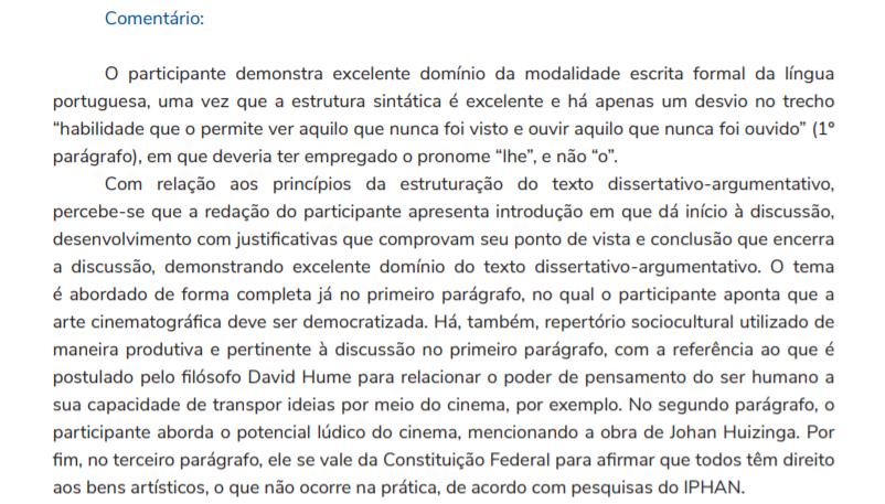 Comentário sobre a redação nota mil do candidato Gabriel Nogueira.