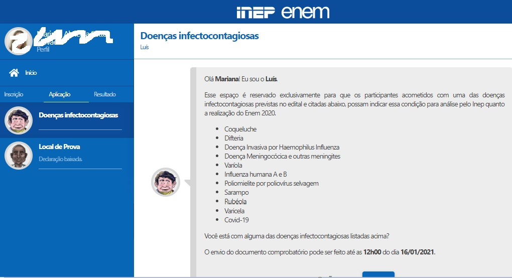 Print da seção de doenças infectocontagiosas na Página do Participante do Enem
