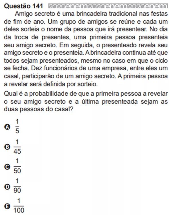 Enem questão 114 de matemática
