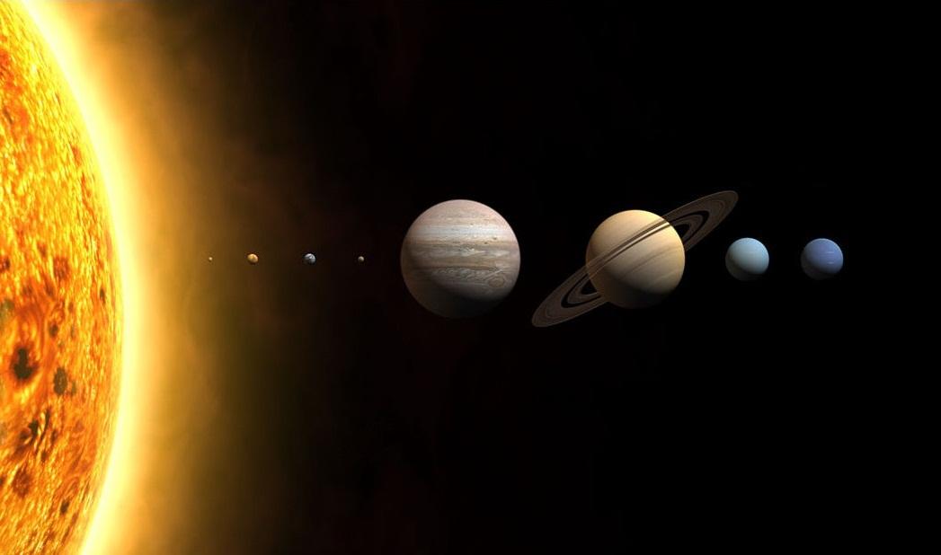Representação artística do sistema solar, com os planetas em escala de tamanho, mas não de distância