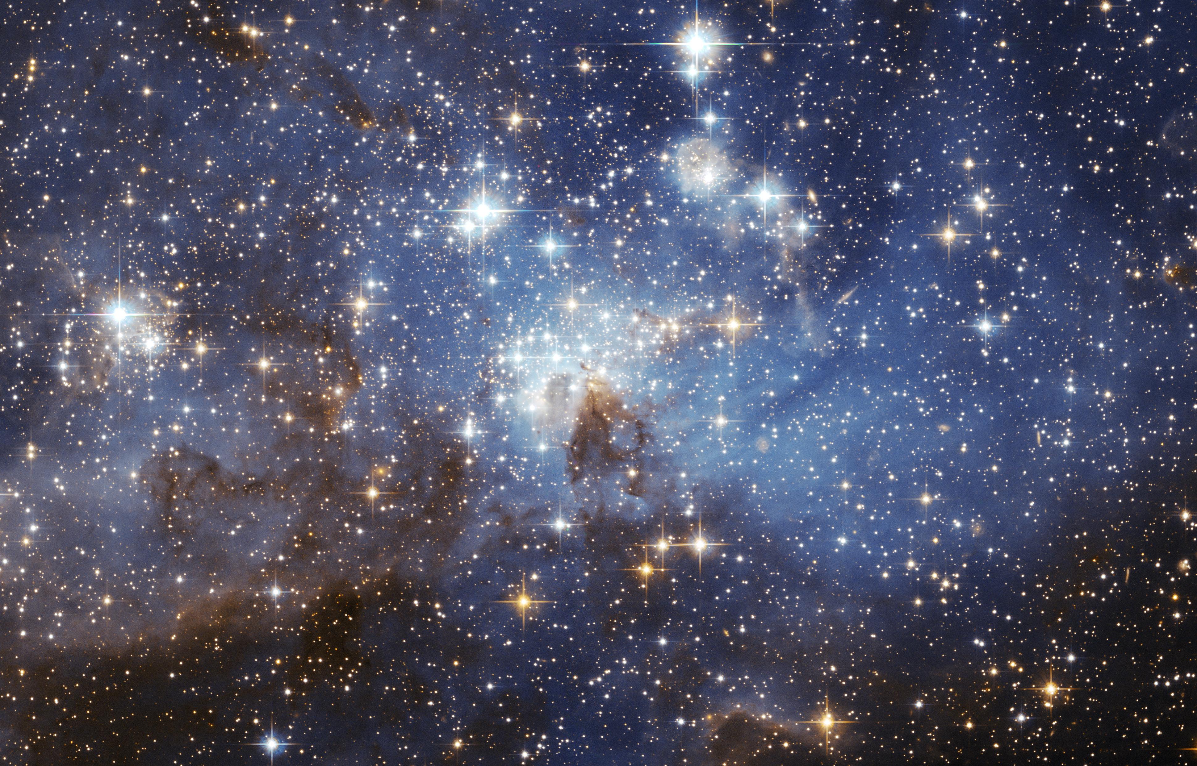 Uma região de surgimento de estrelas na Grande Nuvem de Magalhães