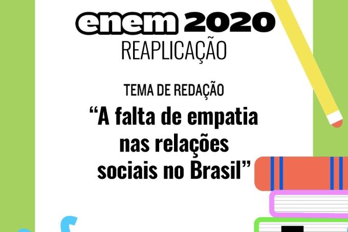 Tema da redação na reaplicação do Enem 2020
