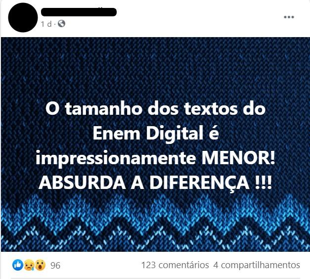 Publicação em um grupo do Facebook