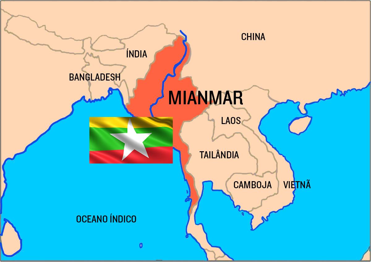 Mianmar (antiga Birmânia) é um país do sudeste asiático que faz fronteira com a Índia, Bangladesh, China, Laos e Tailândia. Há mais de 100 grupos étnicos na região