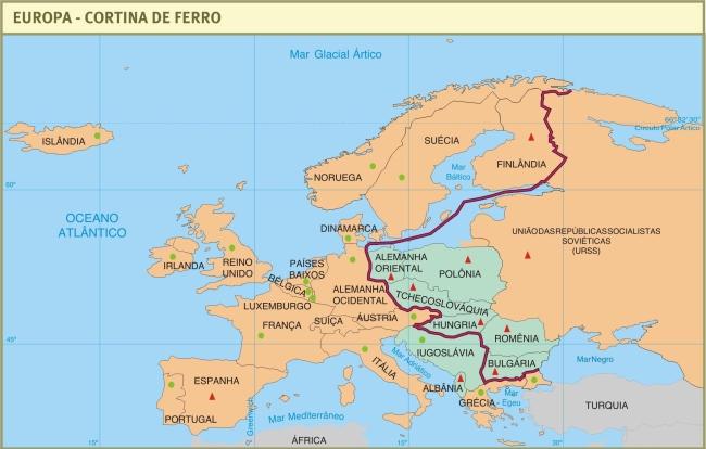 Mapa da Cortina de Ferro.