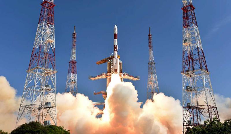 O lançamento do Centro de Lançamento Satish Dhawan Space Centre, em Sriharikota, na Índia.